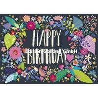 "Carte Mila Marquis ""Happy Birthday"" Couronne de Fleurs"