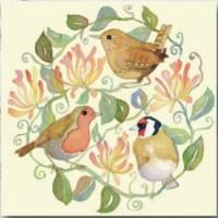 """Carte reproduction d'aquarelle """"Trois Oiseaux"""""""