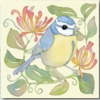 """Carte reproduction d'aquarelle """" Oiseau bleu et jaune"""""""