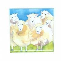 """Carte reproduction d'aquarelle  """"Troupeau de Moutons"""""""