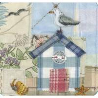 """Carte reproduction Patchwork tissu """"Cabane de plage et Mouette"""""""