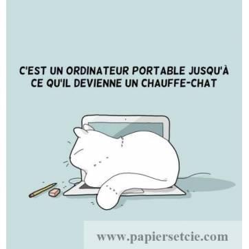 """Carte Chat """"Ordinateur Chauffe Chat"""""""