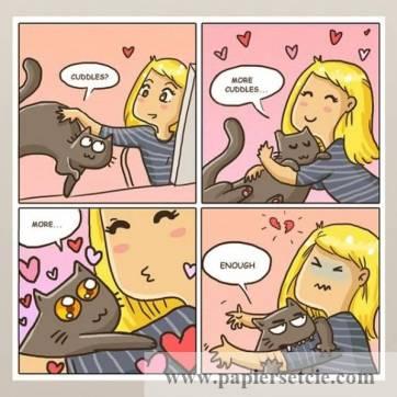 """Carte Chat """"Moi, mon chat et les calins"""""""