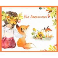 Carte Anniversaire enfants Bon Anniversaire fillette et Renard