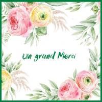 Carte Merci aquarelle Cadre Fleurs roses et blanches