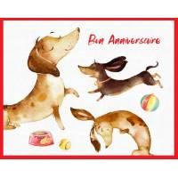 Carte Anniversaire enfants Petit chien Basset