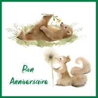 Carte Anniversaire enfants aquarelle ourson et écureuil