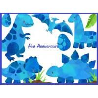 Carte Anniversaire enfants aquarelle Dinosaures bleus