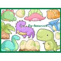 Carte Anniversaire enfants aquarelle Bébés Dinosaures
