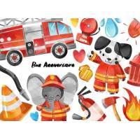 Carte Anniversaire enfants aquarelle Les Pompiers