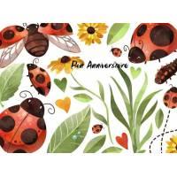 Carte Anniversaire enfants aquarelle Les Coccinelles