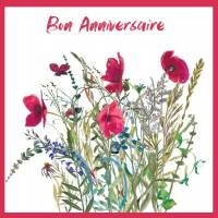 Carte Anniversaire aquarelle Fleurs des champs Coquelicots