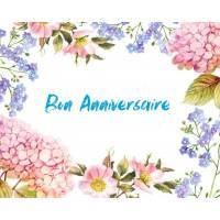 Carte Anniversaire aquarelle Hortensias et Myosotis Lola