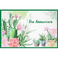 Carte Anniversaire aquarelle Cactus et Fleurs roses Amelia
