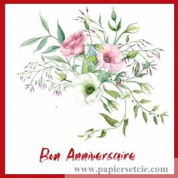Carte Anniversaire Aquarelle Bouquet De Lisianthus Maya