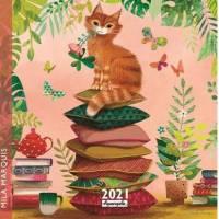 Calendrier 2021 16 x 16 Mila Marquis Le Chat sur les coussins
