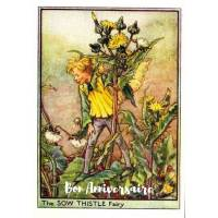 Carte Anniversaire Fées des Fleurs Chardon jaune