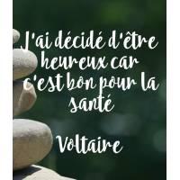 """Carte citation Bonheur: """"J'ai décidé d'être heureux car c'est bon pour la santé"""" Voltaire"""