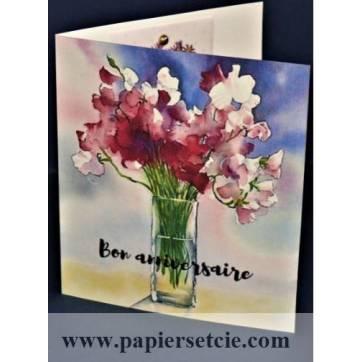 Carte Anniversaire double parfumée à la rose, motif Pois de Senteur