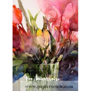 Carte Anniversaire aquarelle Vase de Fleurs colorées