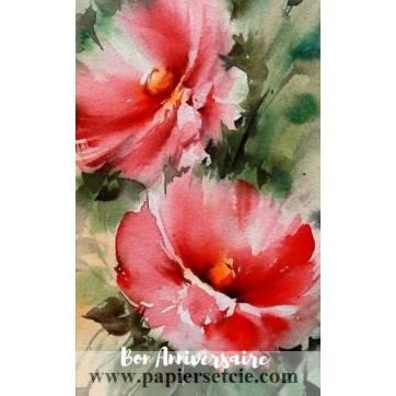 Carte Anniversaire aquarelle Roses Tremières roses