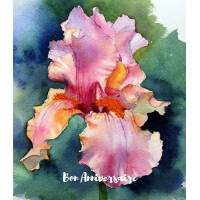 Carte Anniversaire aquarelle Iris roses violets