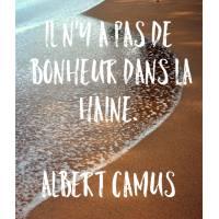 """Carte citation Bonheur: """"Il n'y a pas de bonheur dans la haine"""". Albert Camus"""