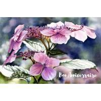 Carte Anniversaire aquarelle Hortensias roses