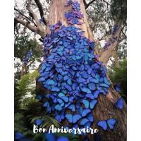 Carte Anniversaire Papillons bleus sur tronc d'arbre