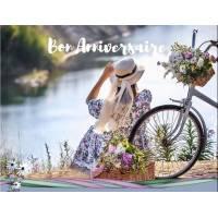 Carte Anniversaire Jeune Femme et vélo au bord de l'eau