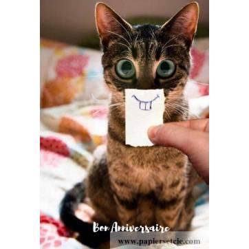 Carte Anniversaire Bon Anniversaire Chat souriant