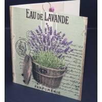 Carte double parfumée à la lavande, Panier de Lavandes Vintage