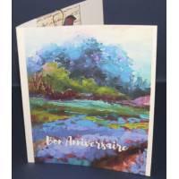 Carte Anniversaire double parfumée lavande, Paysage harmonie de bleus et verts