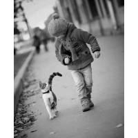 """Carte Enfants Noir et Blanc Vintage """"Enfant et son Minou"""""""