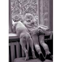 """Carte Enfants Noir et Blanc """"2 copains à la Fenêtre"""""""