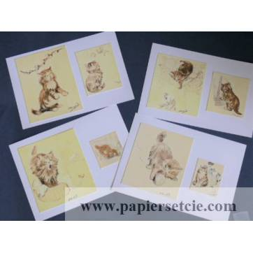 Cartes Chat Chatons Olivier Herford 2, paquet de 4 cartes assorties