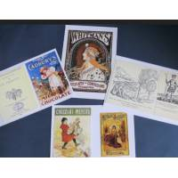 Cartes vintage, Pub de chocolat, paquet de 4 cartes assorties