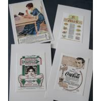 Cartes vintage, Pub de Coca et autres 2, paquet de 4 cartes assorties