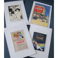Cartes vintage, Pub de Coca et autres 3, paquet de 4 cartes assorties