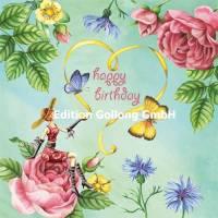 Carte Anniversaire Nina Chen Jeune Femme et Papillons