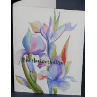 Carte Anniversaire double aquarelle Iris violets