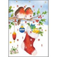 Carte calendrier de l'Avent Carola Pabst Les Rouge Gorge