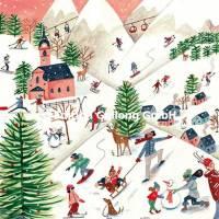 Carte Joyeux Noêl ou Nouvel an Caroline Bonne Les joies du Ski