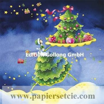 Carte Joyeux Noël ou Nouvel an Nina Chen L'Arbre de Noël