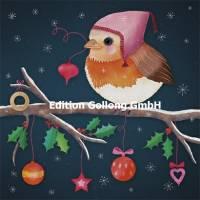 Carte Joyeux Noël ou Nouvel an Sandra Brezina Rouge Gorge