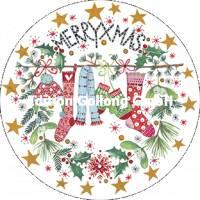 Carte Joyeux Noël ou Nouvel an Kerstin Hess Chaussettes et Bonnet