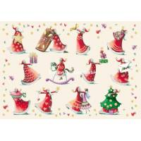 Carte double Joyeux Noël ou Nouvel an Nina Chen Les Pères Noël