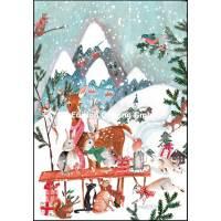 Carte double Joyeux Noël ou Nouvel an Animaux de la Forêt