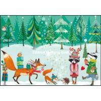 Carte dble Joyeux Noël ou Nouvel an Mila Marquis Animaux de la Forêt