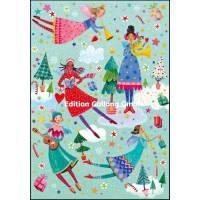 Carte dble Joyeux Noël ou Nouvel an Mila Marquis Les musiciennes